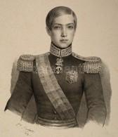 1853 V. Péter Portugál Király Nagyméretű Kőnyomatos Portréja. M. Barbara Jelzett Litográfiája. / Pedro V., Pedro De Alcá - Engravings