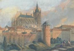 Henry Winkles (1801-1860): Kézzel Színezett Rézmetszetű Vár és Katedrális Kép. 11x8 Cm Üvegezett Keretben. - Engravings