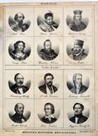 Cca 1850 Hírneves Magyarok Képcsarnoka. Wesselényitől Deákon át Lisztig. 12 Db Kőnyomatos Portré. 17x24 Cm Üvegezett Ker - Engravings