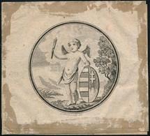 Cca 1750 Puttó Magyar Címerrel. Rézmetszet D: 47 Mm - Engravings