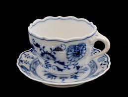 Meisseni Porcelán Kékfestéses Kávés Csésze, és Csésze Alj, Jelzett, M: 6,5 Cm, D: 13 Cm - Porselein & Ceramiek