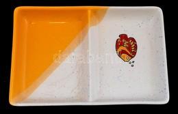 VaBene Porcelán Kétrészes Kínálótál. Kézzel Festett, Jelzett, Apró Lepattanásokkal, Enyhén Koszos. 15x22,5 Cm - Porselein & Ceramiek
