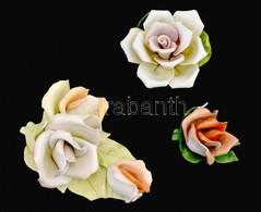 3 Db Sérült Porcelán Rózsa, Közte Aquincumi - Porselein & Ceramiek