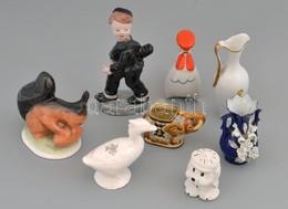 Kis Doboznyi Figurális Porcelán, Tálkák, Stb., Jelzéssel és Jelzés Nélkül, Kopásnyomokkal, Kis Hibákkal - Porselein & Ceramiek