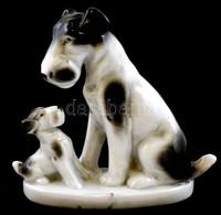 Foxterrier (foxi, Terrier) Kutya Kölykével, Festett Porcelán, Jelzett, Kisebb Mázhibákkal, M: 9,5 Cm - Porselein & Ceramiek