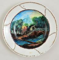 Cca 1900 Kézzel Festett Fali Dísztál, Jelzett (Rónai), Kopott, D: 30,5 Cm - Porselein & Ceramiek