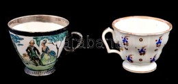 2 Db Kézzel Festett Porcelán Kávéscsésze. Kopásokkal - Porselein & Ceramiek