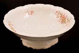Virágmintás Porcelán Gyümölcsös Tál, Matricás, Jelzés Nélkül, Kopásnyomokkal, D: 25 Cm - Porselein & Ceramiek