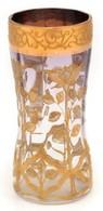 XX Sz. Eleje: Aranyozott üveg Váza. Formába öntött, Arany Festett, Hibátlan. 13 Cm - Glass & Crystal