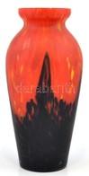 Vörös-fekete Festett üvegváza, Jelzés Nélkül, Apró Kopásokkal, Csorbával M: 31 Cm - Glass & Crystal