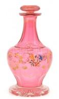 Rózsaszín üveg Kiöntő, Formába Fújt, Kézzel Festett, Kopásokkal, 23 Cm - Glass & Crystal
