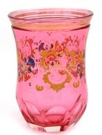 Rózsaszín üveg Pohár, Formába Fújt, Kézzel Festett, Kopásokkal, 10 Cm - Glass & Crystal