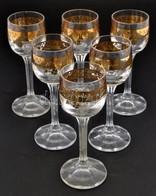 6 Db Aranyozott Szélű Likőrős/pálinkás Pohár Szép állapotban 14 Cm - Glass & Crystal
