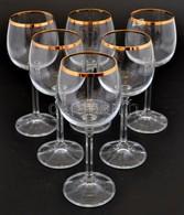 6 Db Aranyozott Szélű Boros Pohár Szép állapotban 16 Cm - Glass & Crystal