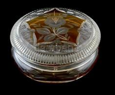 Kétrétegű Csiszolt Kirstály üveg Bonbonier, Kopásokkal, D: 12 Cm M: 7,5 Cm - Glass & Crystal