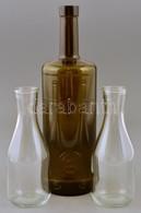 Barna Kakas-korona Logós üveg, Kopásnyomokkal, M: 30 Cm + 2 Db átlátszó üveg, M: 18 Cm - Glass & Crystal