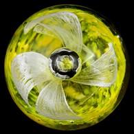 Anyagában Színezett Fehér-sárga Levélnehezék, M: 5,5 Cm - Glass & Crystal