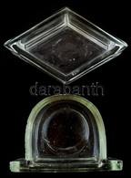 Kis üvegfiók és Rombusz Alakú üvegedény, Kis Kopásnyomokkal, 4,5×7,5 és 7×5 Cm - Glass & Crystal