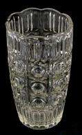 Formába öntött üveg Váza, Kis Kopásnyomokkal, M: 22 Cm - Glass & Crystal