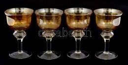 4 Db Sárga-fehér Talpas üvegpohár, Kis Kopásnyomokkal, M: 13 Cm - Glass & Crystal