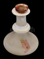 Királynő Fejjel Díszített Tejüveg üvegcse, Dugóval, Kopott, M: 11 Cm - Glass & Crystal