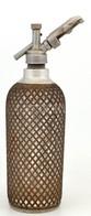 1930 Sparklet Patent Auto-Syphon Szódásüveg, Fém Szövéssel Borítva, M: 36,5 Cm - Glass & Crystal