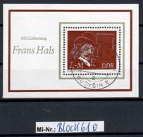 DDR Block 61 Frans Hals 1980 Sauber Gestempelter Block - [6] Oost-Duitsland