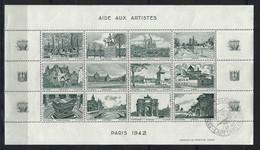 FRANCE 1942: Feuille De 12 Vignettes (11 Neufs** Et 1 Obl,) ''L'Art Et Le Timbre'' Avec Vues De Paris En Gris-vert - Fantasy Labels