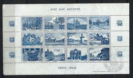 FRANCE 1942: Feuille De 12 Vignettes (11 Neufs** Et 1 Obl,) ''L'Art Et Le Timbre'' Avec Vues De Paris En Bleu - Fantasie Vignetten