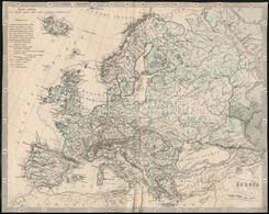 Cca 1873 Europa Hegységei és Vizeinek Térképe, Körbevágott, A Hátoldalán Javított, 20x25 Cm - Mapas