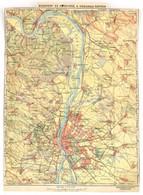 Cca 1900-1910 Budapest és Környéke, A Visegrádi Szoros Térképe, 1:75.000, Bp., Magyar Földrajzi Intézet Rt., Körbevágott - Maps
