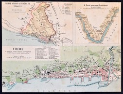 Cca 1900-1910 Fiume Térképe, és A Duna Szorosai Orsovánál, Körbevágott, Térkép, [Bp.,Magyar Földrajzi Intézet], Körbevág - Mapas