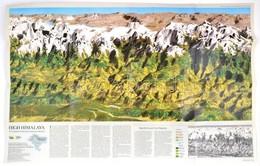 1988 Mount Everest Szintvonalas, Grafikai, Látványtérképe, National Geographic, 91×57 Cm - Mapas