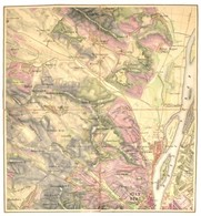 Cca 1873 Umgebung Von Pest Ofen, 4 Szelvényből álló, Színezett Rézmetszetű Térkép, Vászonra Kasírozva, Az I. Szelvény Vá - Maps