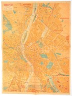 Cca 1939-1945 Budapest Térképe, 1: 25.000, Bp., Közlekedési Nyomda Kft., A Hátoldalon Utca Névjegyzékkel, Rajta Az Terve - Mapas