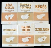 1977-1982 Magyarország Alföldi Megyéinek Térképei, 6 Db (Szolnok, Bács-Kiskun, Szabolcs-Szatmár, Békés, Csongrád, Hajdú- - Mapas