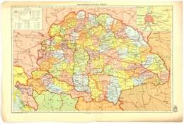 1942 Magyarország Politikai Térképe és Magyarország Hegy- és Vízrajzi Térképe, Kétoldalas Térkép, Kiadja: M. Kir. Honvéd - Mapas