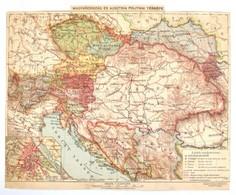 Cca 1900-1910 Magyarország és Ausztria Politikai Térképe, 1:5.000.000, Bp., Magyar Földrajzi Intézet Rt., Körbevágott, P - Maps