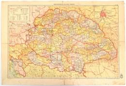 1939 Magyarország Politikai Térképe, 1:2.500.000, M. Kir. Honvéd Térképészeti Intézet, Kartonra Kasírozva,29x43 Cm - Maps