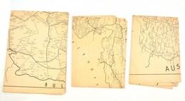1949 Románia, Ausztria, Szlovákia (Csehszlovákia) Térképe. Bp., Offset-nyomda N. V. Hajtások Mentén Kis Szakadásokkal, 3 - Maps