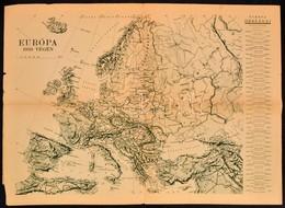 """1938 """"Az Ezeréves Magyarország"""", Ill. Hátoldalán """"Európa 1938 Végén"""", Pesti Hírlap Térképmelléklete, Kis Szakadással, 41 - Maps"""
