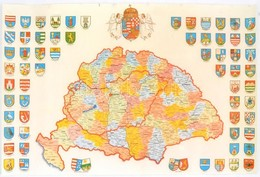 Nagy-Magyarország Reprint Térképe, Rajta Az összes Megye Címerével, 32,5x49 Cm, Enyhén Szakadt állapotban - Mapas