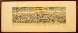 Bologna Látképe, Színezett Mélynyomás, Reprint, üvegezett Fa Keretben, 22x61 Cm. - Mapas