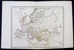 1825 Európa A Barbárok Betörése Előtt. Nagyméretű Határszínezett Rézmetszetű Térkép. / 1825 Map Of Europe Before The Bar - Mapas