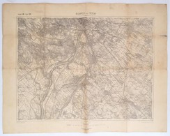 1910 Budapest Und Tétény Katonai Térképe, 1:75.000, Kiadja: K. U. K. Militärgeographisches Institut, 47,5×61,5 Cm, Ragas - Mapas