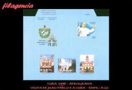 CUBA. ENTEROS POSTALES. AEROGRAMA 1998 VISITA DE JUAN PABLO II A CUBA - Cuba