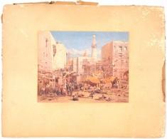 Eduard Hildebrandt (1818-1868) Kairói Piac, Nyomat Kartonon, A Karton Foltos, Kopott, 23x29 Cm - Documentos Antiguos