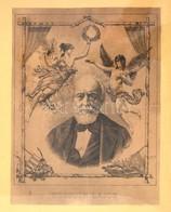 Kossuth Lajos Arcképe, Geiger Richárd (1870-1945) Rézkarca Nyomán, Jelzett A Nyomaton, üvegezett Keretben, 29×22 Cm - Documentos Antiguos