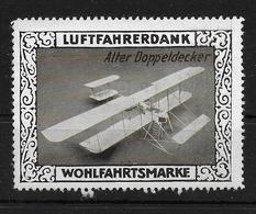 Deutsches Reich Wohlfahrtsmarke Luftfahrerdank  Doppeldecker Vignet Werbemarke Cinderella Advertisement Label Aviation - Fantasy Labels