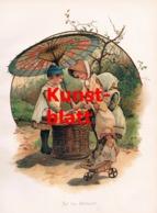 1844 H.M. Bennett Obstmarkt Kinder Markt Puppen Kunstblatt 1899 !! - Stampe
